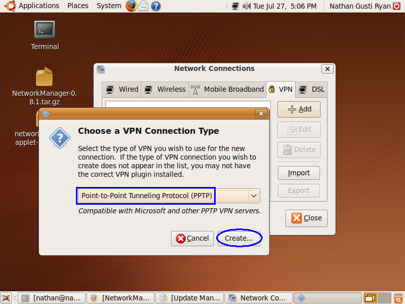 how to connect pptp to linux xubuntu
