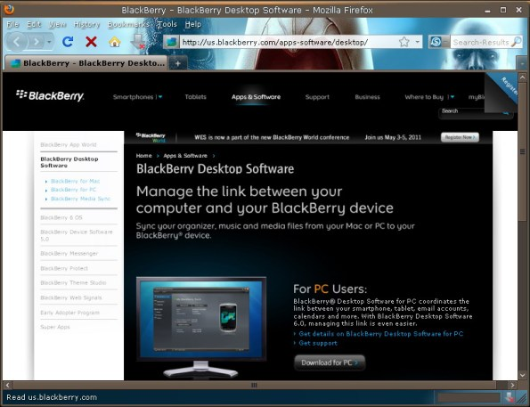 BlackBerry Desktop Software versi 6.0.