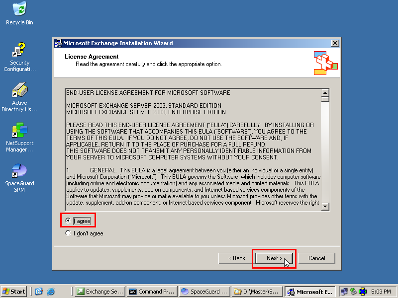 how to install exchange 2003: