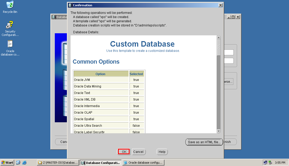 how to create database in oracle 10g step by step