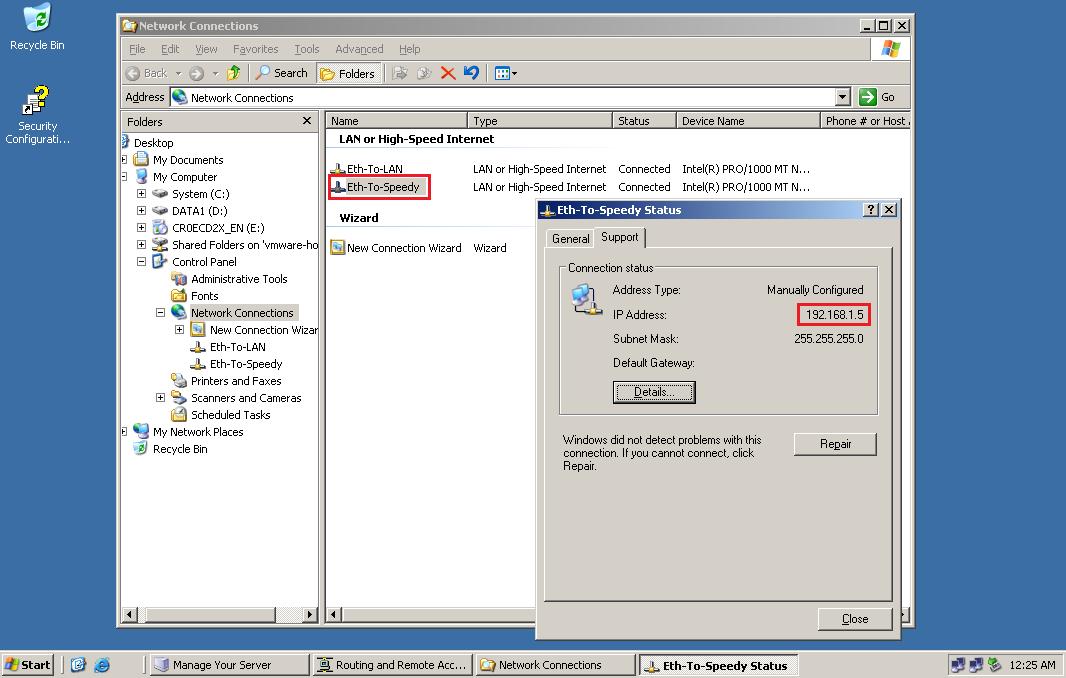 OpenVPN configuration on a Windows 2003 server