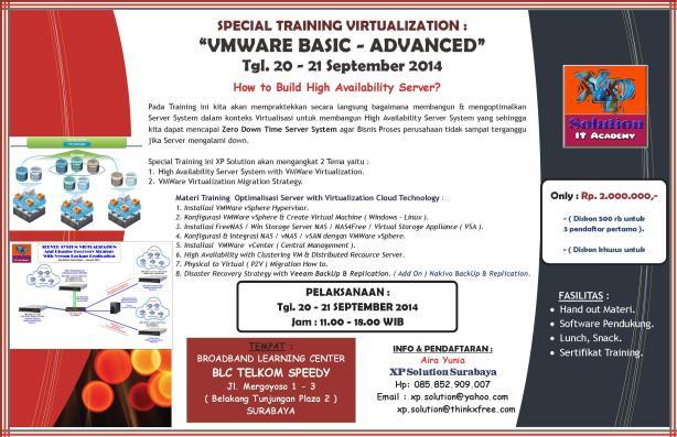 SPECIAL TRAINING VIRTUALIZATION VMWARE BASIC - ADVANCED - 20-21 September 2014