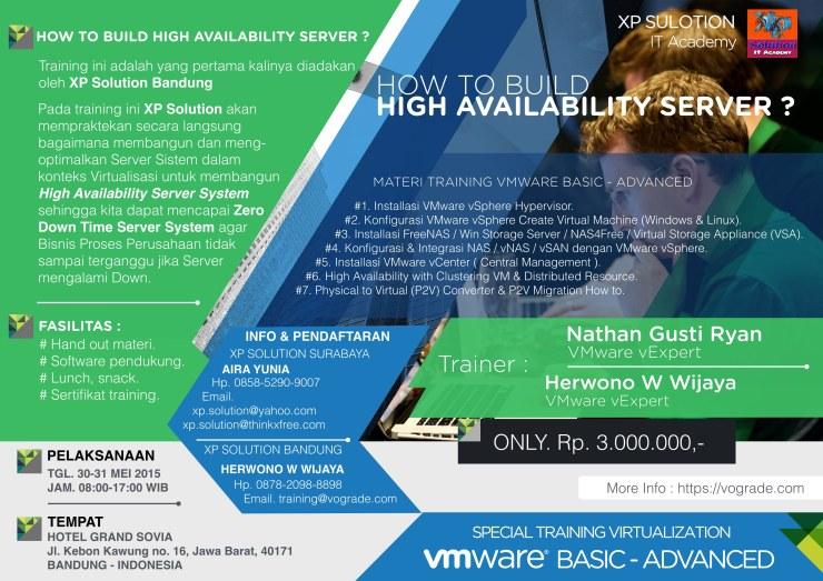 Brochure VMWare vSphere Virtualization Basic-Advanced Class [ 30-31 Mei 2015] @Bandung
